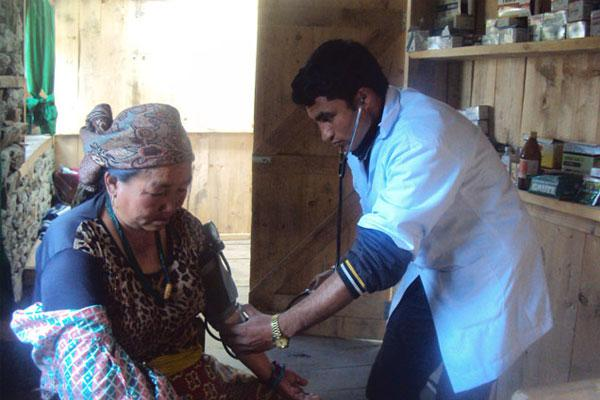 Rural old women checking health condition at GSF owned clinic