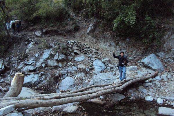 Rural village river bridge in Solukhumbu District